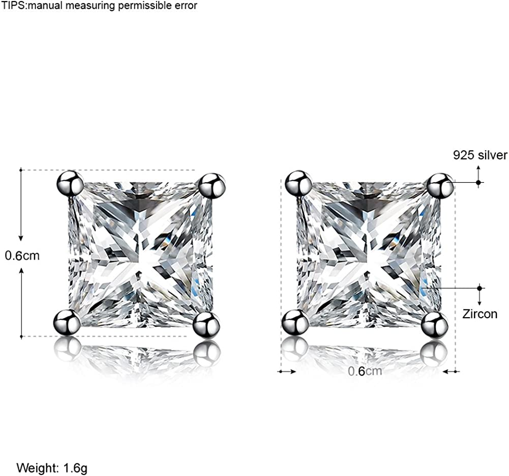 Sterling Silver Cubic Zirconia Stud Earrings Set Princess Cut Round Flower Heart Star CZ Small Silver Earrings by DreamSter