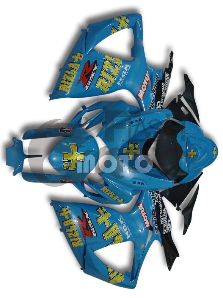 FlashMoto suzuki 鈴木 スズキ GSX-R600 GSX-R750 K6 2006 2007用フェアリング 塗装済 オートバイ用射出成型ABS樹脂ボディワークのフェアリングキットセット ブルー   B07MKCNKJG