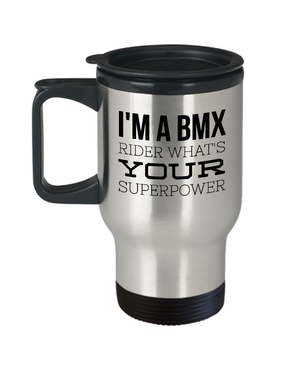 Bikeコーヒーマグ – 私はA BMXライダーWhat 's Yourスーパーパワー – Bikingテーマギフト – 14 Gステンレススチール旅行カップ   B0742FKLP5