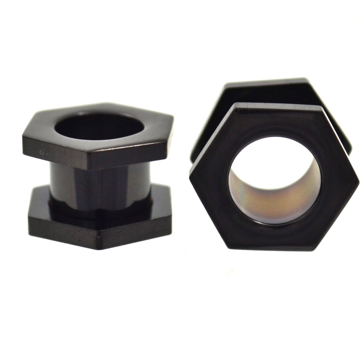 Pair of All Black Titanium Plated Hexagon Shaped End Ear Plugs Tunnels Screw Fit Gauges - 0G (8mm)