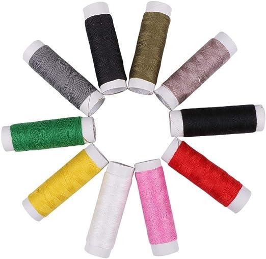 Prosperveil - Juego de 10 hilos de coser de poliéster y algodón ...