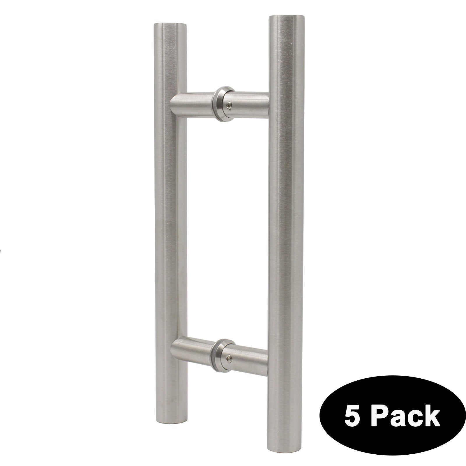 Probrico 5 Pack Gate Door Pull 12'' 305mm Barn Glass Wood Door Handle T Bar Two Sides Large 304 Stainless Steel Heavy Duty Door Pulls Brushed Nickel