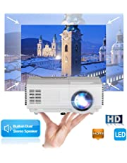 LED Mini 1500Lux Video Projector - Pocket Size Portable Small Projector LCD Full HD 1080p Multimedia Home Theater Projector with Keystone Speaker HDMI USB VGA TV for Smartphone PC DVD Xbox PS4 Fire Stick