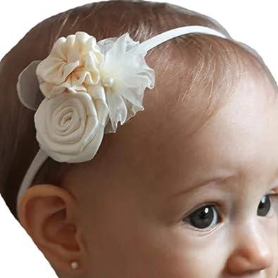 Baby Girl Pure White Christening Headband Baptism Wedding Ribbon Bow Hairband