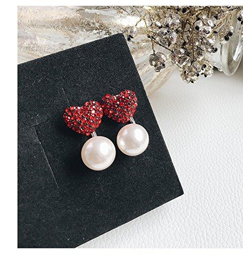 Stylish Pearl Earrings Earring Dangler Eardrop Diamond Full Love Peach Heart Women Girls Woman Jewelry Gift Ideas (Full Drill Love Pearl red +