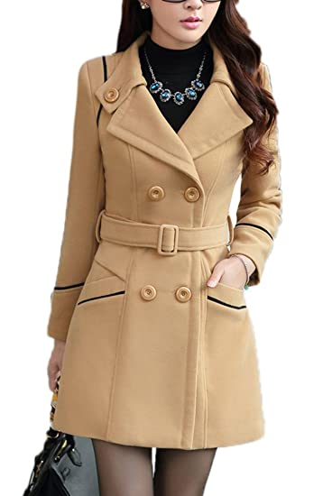 cda511be57a Image Unavailable. Image not available for. Color  YOSUNL Women s Wool  Blend Coat Double-Breasted Outerwear Winter Warm Trench Jacket with Belt  Camel