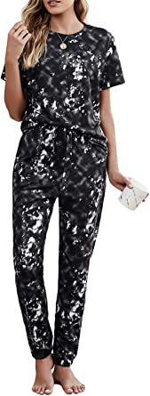 CIZITZZ Womens Pajama Sets Button Up Long Sleeve Tops and Tie Dye Printed Pants Sleepwear Loungewear Nightwear with Pockets
