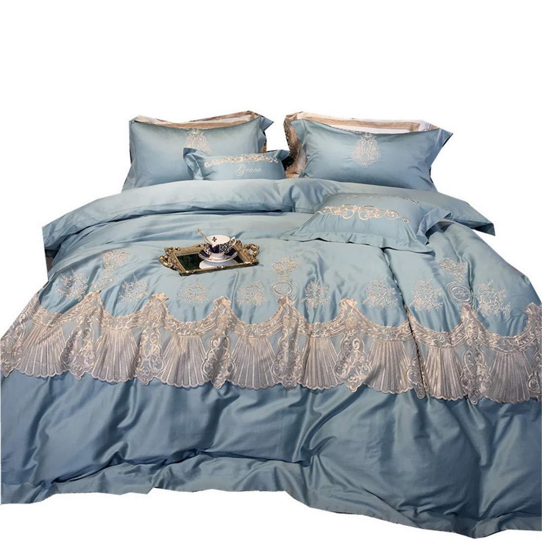 Kainuoo 4枚のレース刺繍寝具ピュアコットンサテン寝具セット (Size : QUEEN) B07N1KNYPS  Queen