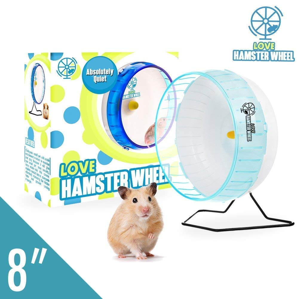 Hamster Wheel 8'' Silent Spinner, Exercise Wheel for Hamsters Gerbils and Other Small Animals, Blue