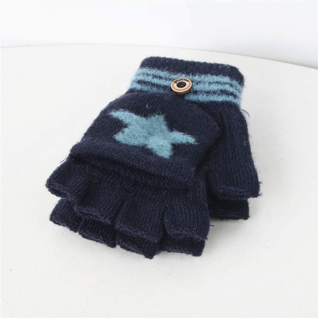 Kids Baby Keep Warm Cute Cartoon Winter Warm Knitted Convertible Flip Top Fingerless Mittens Gloves for 1-8 Years Old Boys Girls TM Little Kids Winter Warm Christmas Gloves,Colorful