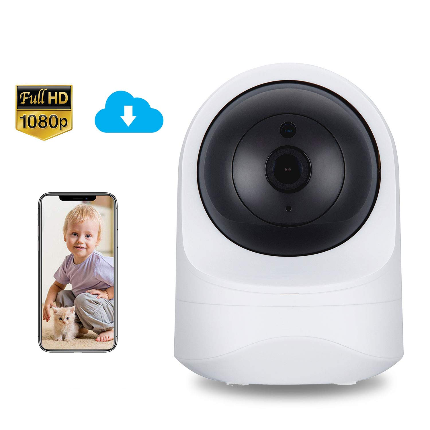 BIZGOOD Baby Monitor 1080P FHD Home WiFi Security Camera Motion Detection with Night Vision 2-Way Audio Available Monitor Baby Elder Pet Compatible with iOS Android,Works with Alexa