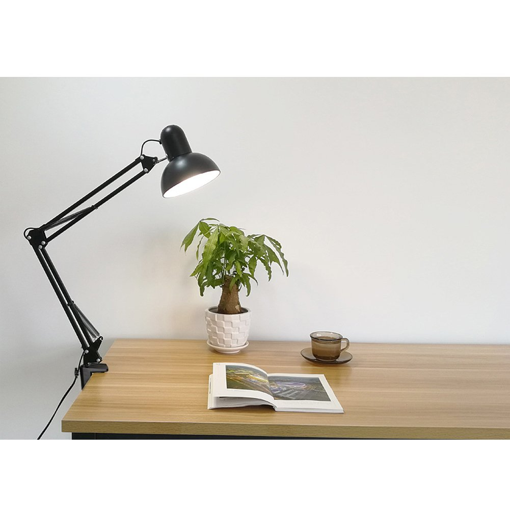 Carry360 Swing Arm Desk Lamp, Long Flexible Arm Desk Lamp Architect Table Lamp Clamp Mounted Swivel Light, Black Finish by Carry360 (Image #3)