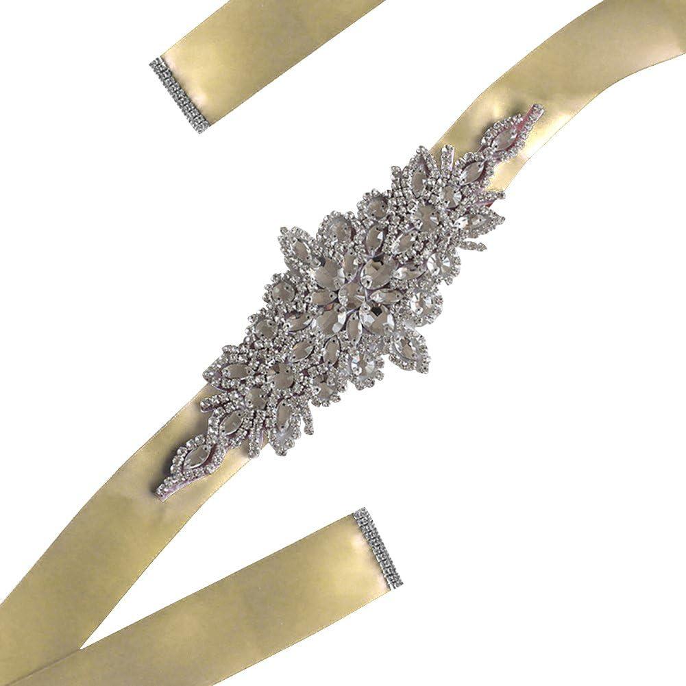 Kentop Satén Cinta Vestido de Novia Cinturón Correa de Novia con Rhinestone Accesorios de Vestir Joyería para Mujeres