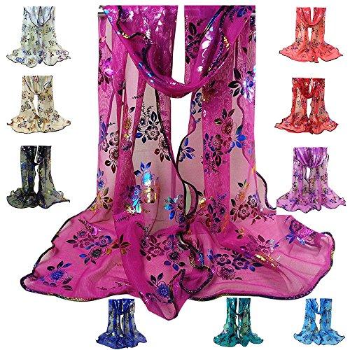 HYIRI Women's's Vintage Colorful Flower Lace Gauze Veil Wrap Scarf Shawl Wrap AG Elegant Atmosphere head ()