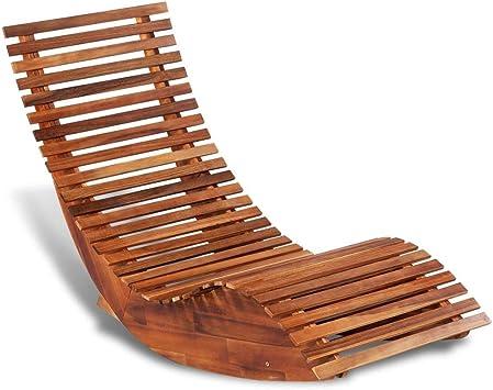 Xingshuoonline Chaise Longue à Bascule en Bois d'acacia