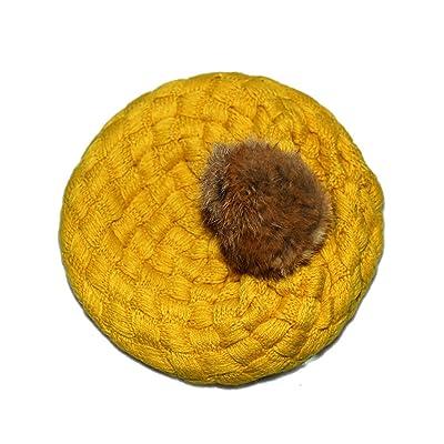 APAS Baby Toddler Crochet Knitting Cuffed Fluffy Pom Beret Beanie Hat Cap Toque