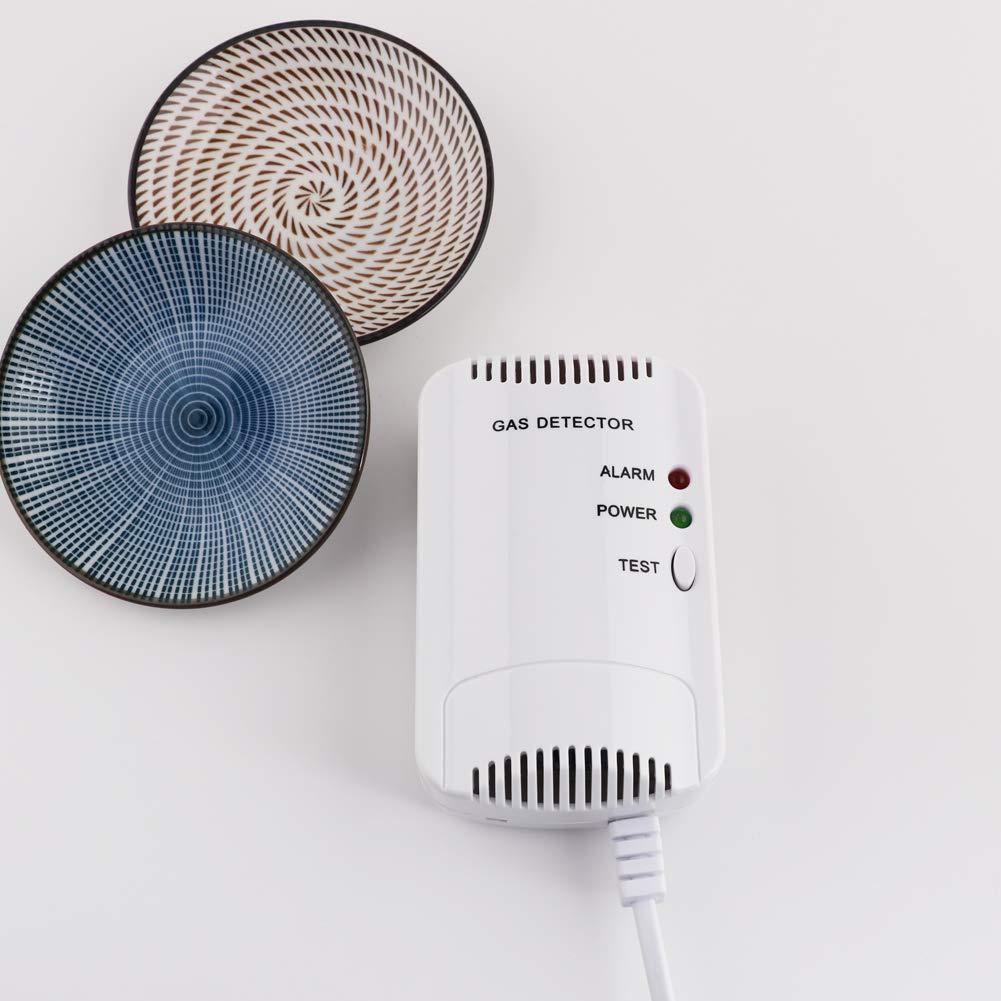Detector de Gas, Alarma de Gas LPG/natural/ciudad, Sensor De Fugas De Gas Combustible/Propano/Metano, con Alarma de Luz Estroboscópica (Blanco): Amazon.es: ...