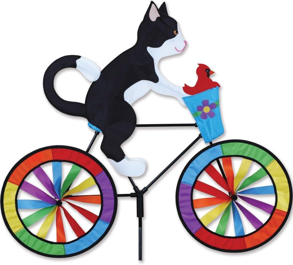 """Garden Stake by Premier Design Whirligig 30/"""" TUXEDO CAT on a Bike Spinner"""