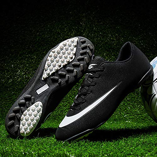 DOUDOU Breathable Soccer Shoes Men and Women Artificial Grass Middle School Training Shoes Short Spike Shoes,White,39 (Difference Between Futsal Ball And Soccer Ball)