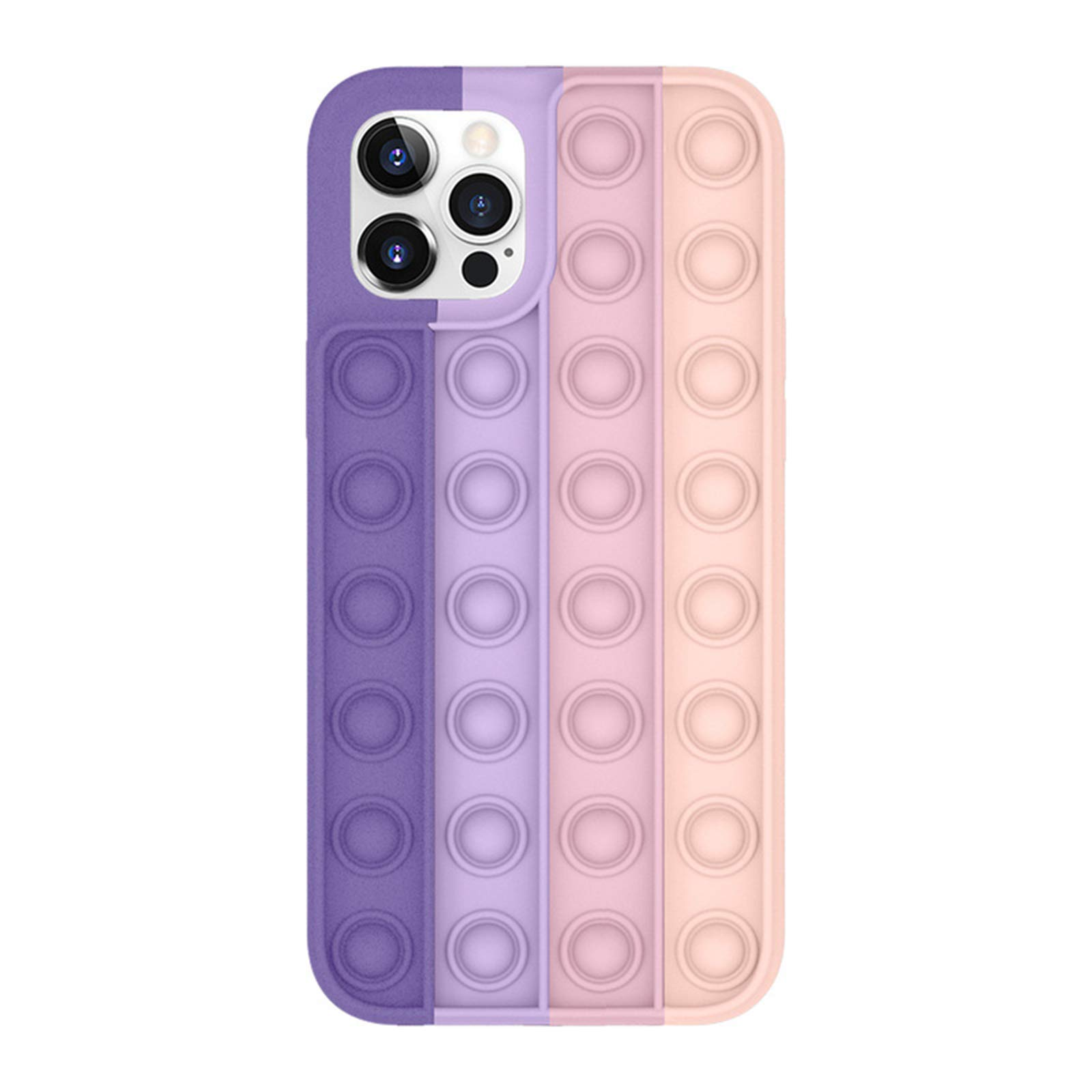 JBEELATE 2 in 1 Fidget Toy Silicone iPhone Case Cell Phone Basic Cases Push Pop Bubble Fidget Toys Designed for iPhone 11/12/12pro/Max (C, iPhone 12)