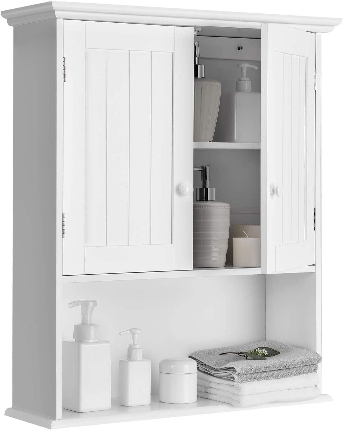 Tangkula Wall Mount Bathroom Cabinet Wooden Medicine Cabinet Storage Organizer With 2 Doors And 1 Shelf Cottage Collection Wall Cabinet White Kitchen Dining