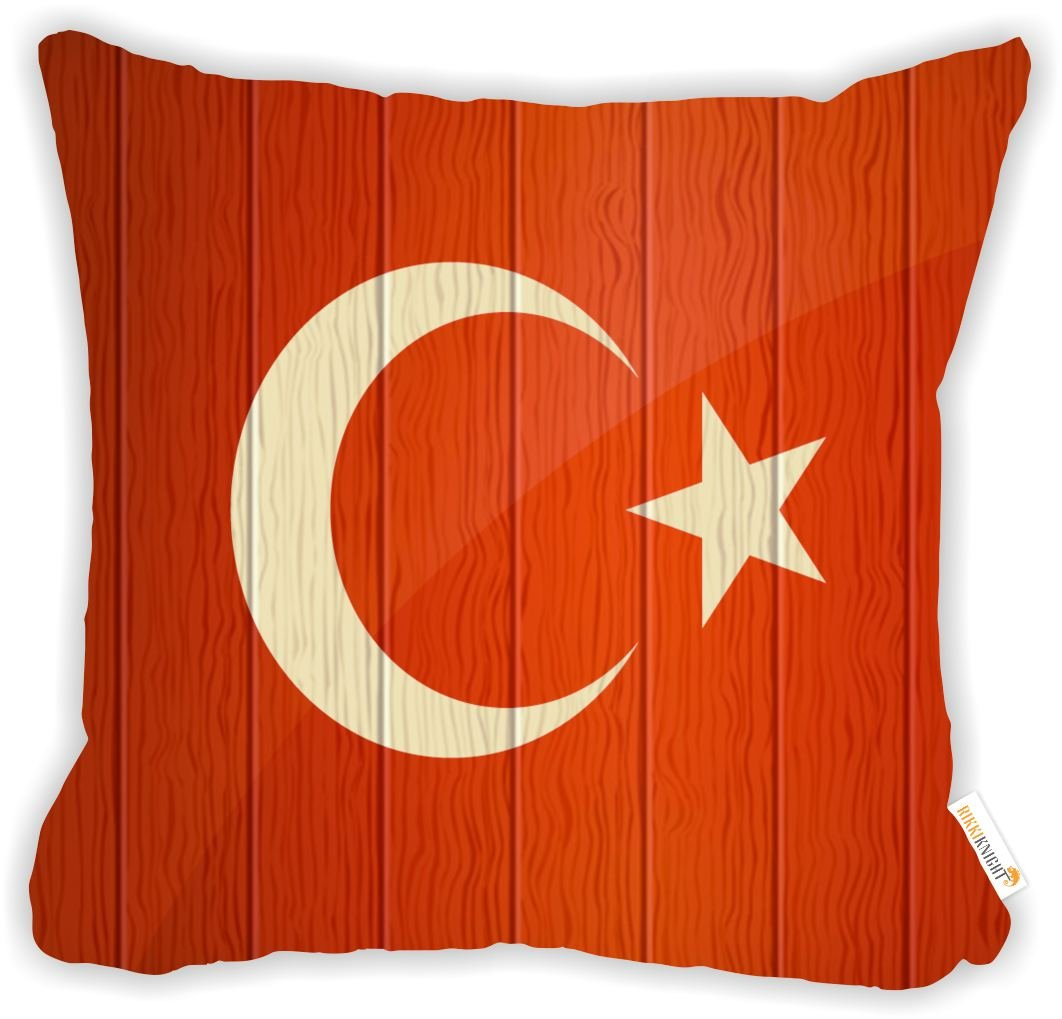 Rikki Knight Turkey Flag on Distressed Wood Microfiber Throw Décor Pillow Cushion 18'' Square Double Sided Print (Insert Included)