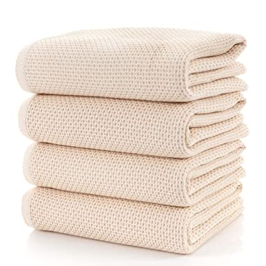 CC CAIHONG Towels Waffle Weave Drying Cotton Large Lightweight Knit Bath Towel Set - (4 Pack 27 inch x 55 inch) - Beige