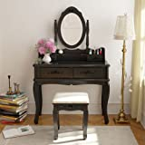 Tribesigns Vanity Makeup Table Set with Mirror & Stool, Bedroom Dressing Table Dresser Desk with 4 Drawers, Black Wood