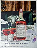 Old Forester Whiskey, 40's Print ad. full page Color Illustration (beautiful table setting) Rare oiginal Vintage 1947 Colliers Magazine Print Art