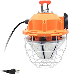 150W High Bay Outdoor Temporary LED Work Light 20250Lm 5000K Daylight White with Stainless Steel Guard and Hook Portable Hanging Lighting for Construction Job Site