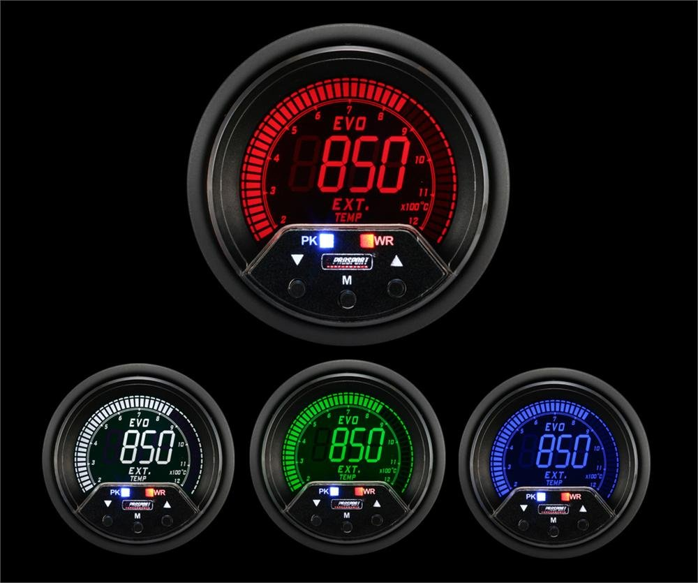 Prosport Universal 52mm Premium Evo Electrical EGT Exhaust Temperature Gauge Red/White/Blue/Green
