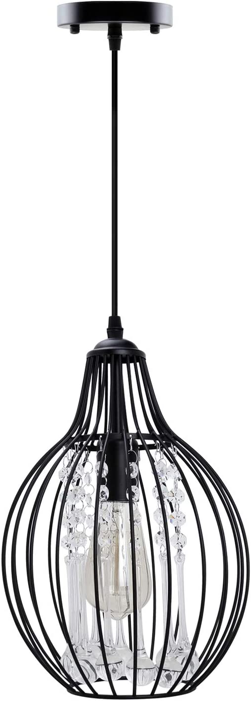 Vintage Crystal Pendant Light – MKLOT Classic Black Metal Cage Chandelier Ceiling Lighting Fixture with Adjustable Cord for Kitchen Island Dining Living Room Bedroom Farmhouse