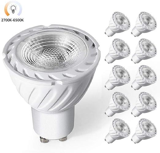 10 Pack Bombilla LED GU10 Regulable 5W, 3000K-4000K-6000K, 3 Modos, 350LM, 50W Bombilla Halógena Equivalente, AC220V, Sin parpadeo, Haz de 360 °, Lámpara de Ahorro de Energía: Amazon.es: Iluminación