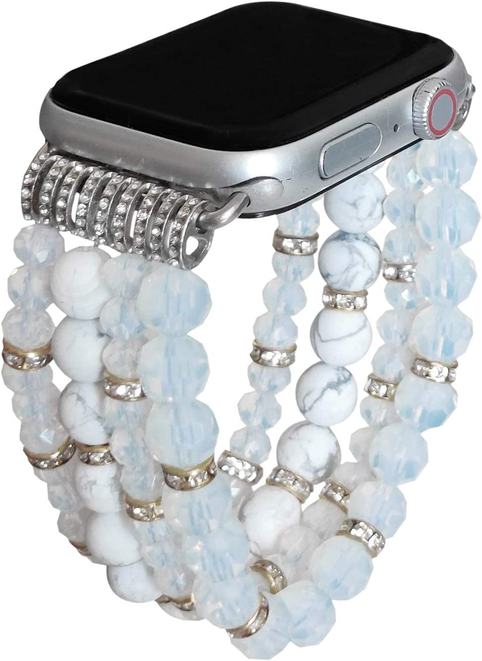 ZOOZOOT Natural Gemstone Crystal Bracelet Compatible with Apple Watch Bands Women Girl, Cute Handmade Fashion Elastic Beaded Strap Compatible for Apple iWatch Series SE/6/5/4/3/2/1