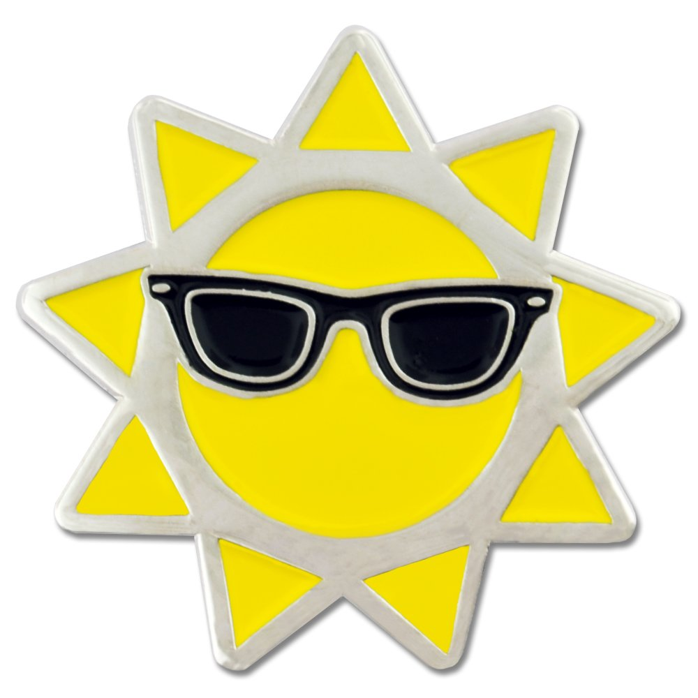PinMart's Cool Sun with Sunglasses Summer Enamel Lapel Pin by PinMart