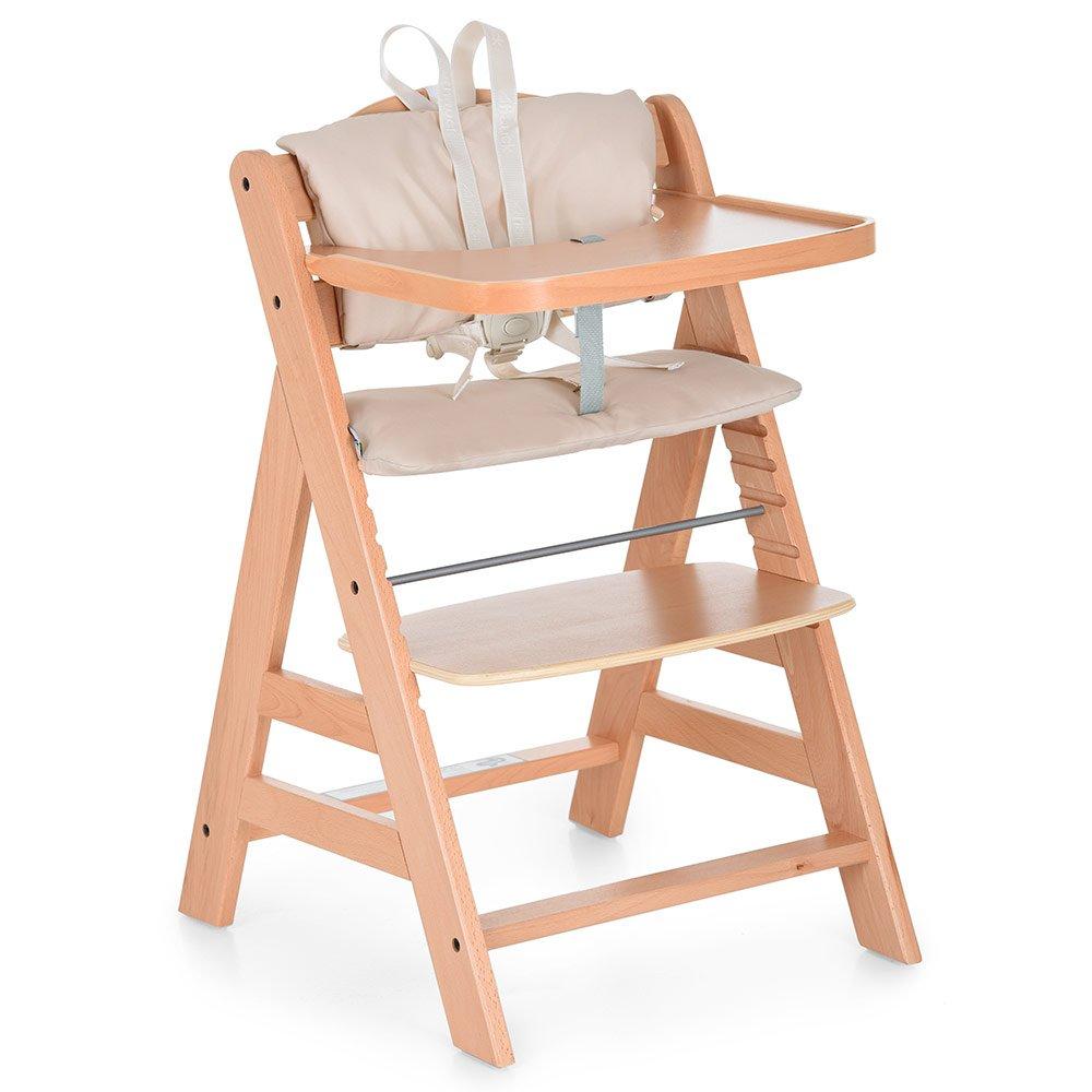 Hauck Hochstuhl Gamma Plus Set Deluxe - Robuster Treppenhochstuhl aus Holz | mitwachsender Kinderstuhl mit Gurt, Essbrett und Sitzpolster | bis 90 kg belastbar - Natur