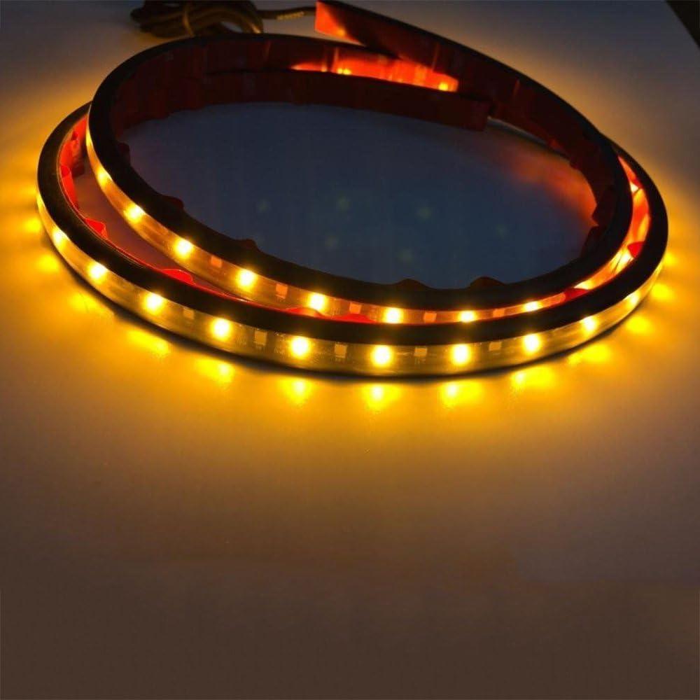 Ruick Ambre Blanc 120smd 121,9/Cm Barre De Bande LED Tour Signal Course /à Pied L/éGer Lumi/èRe Tailgate Sede Lit Lampe /éTanche