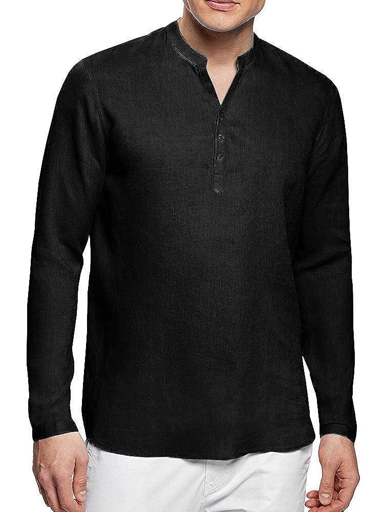 50aaeac016 Runcati henley shirts for men cotton linen long sleeve summer beach yoga  slim fit plain relax casual tops.