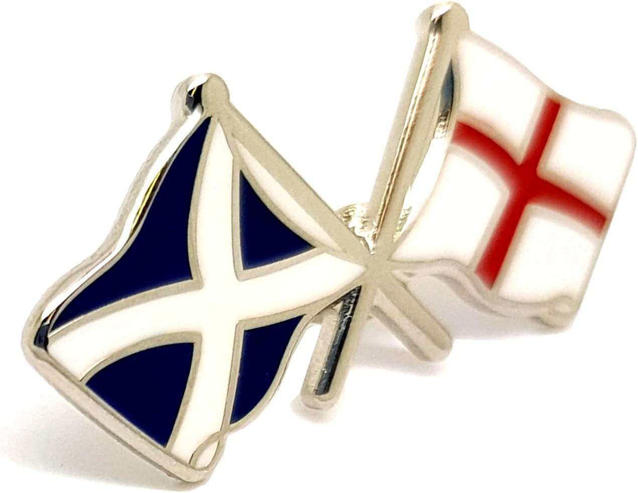 ENGLAND ST GEORGE SCOTTISH SALTIRE TWIN FLAG LAPEL PIN BADGE IN FREE GIFT POUCH