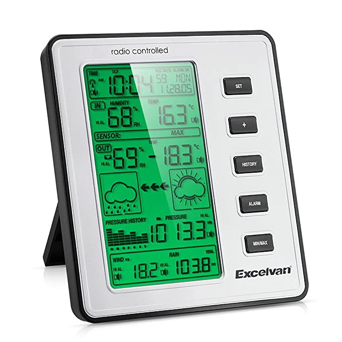 Excelvan WH1070 - LCD Estacion Meteorologica Inalambrica (con Sensor, Temperatura, Humedad, Barometro, Velocidad de Viento, Lluvia, Punto de Rocio)