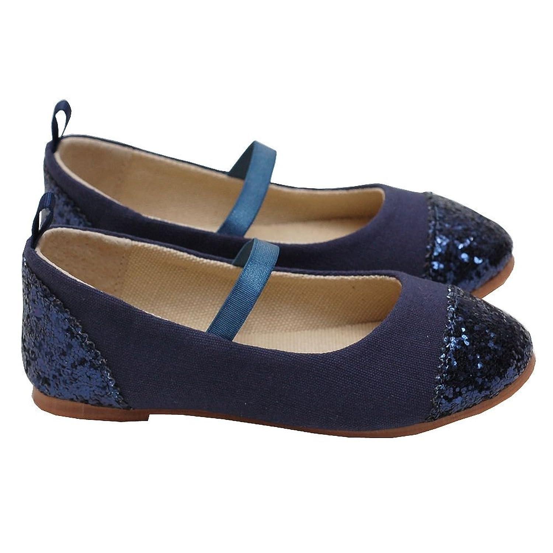 L Amour Girl 3 Navy Glitter Heel Toe Mary Jane Style Shoe Amazon