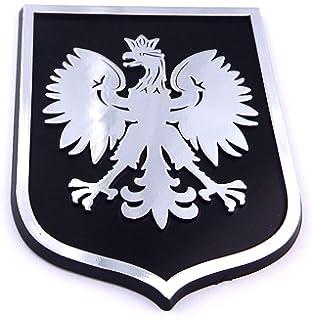 Poland Eagle Red White Polska plastic car emblem decal sticker crest PRW Car Chrome Decals