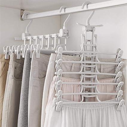 Perchas Organizadoras para Pantalones, Perchero Plegable, Doble Gancho, a Prueba de Viento, Ahorro de Espacio, Fácil de Colocar, Antideslizantes