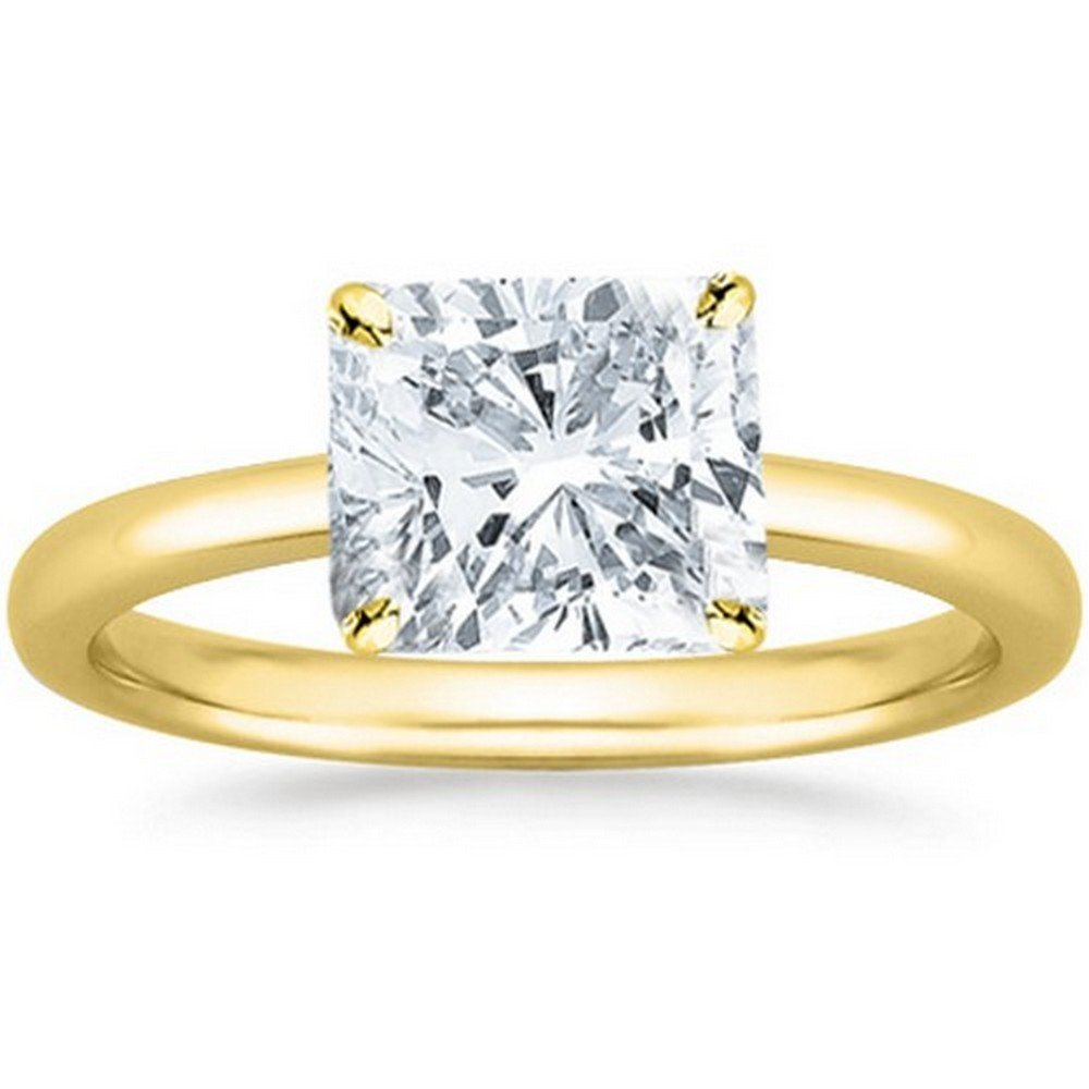 14K Yellow Gold Cushion Cut Solitaire Diamond Engagement Ring (1 Carat J-K Color I2 Clarity)