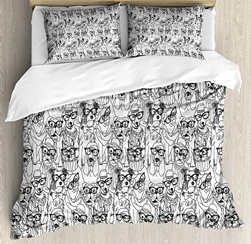 (Dog 4 Piece Bedding Set Twin Size, Cute Monochrome Trace Sketch Pugs Bulldog Terrier with Glasses and Hats Hipster Attire, Duvet Cover Set Quilt Bedspread for Childrens/Kids/Teens/Adults, Black White)