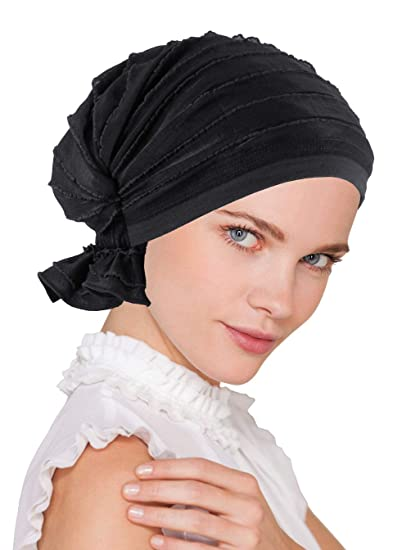 8a1651067 Turban Plus The Abbey Cap in Ruffle Fabric Chemo Caps Cancer Hats for Women