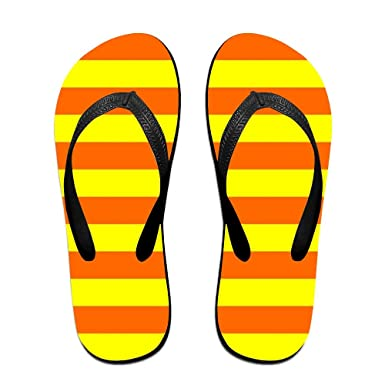 45bf88820104f7 Amazon.com  Orange And Yellow Stripes Top Quality Unisex Flip Flops Rubber  Thong Sandal Beach Slipper For Women Men  Clothing