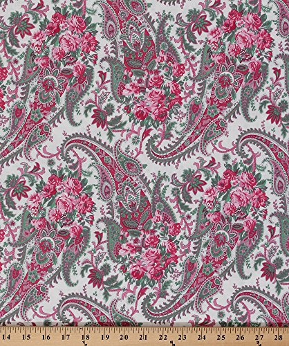Cotton Verna Mosquera-Billet Doux Floral Paisley Paisleys Roses Flowers Flower Pink Cream Cotton Fabric Print by the Yard (PWVM094-CREAM)