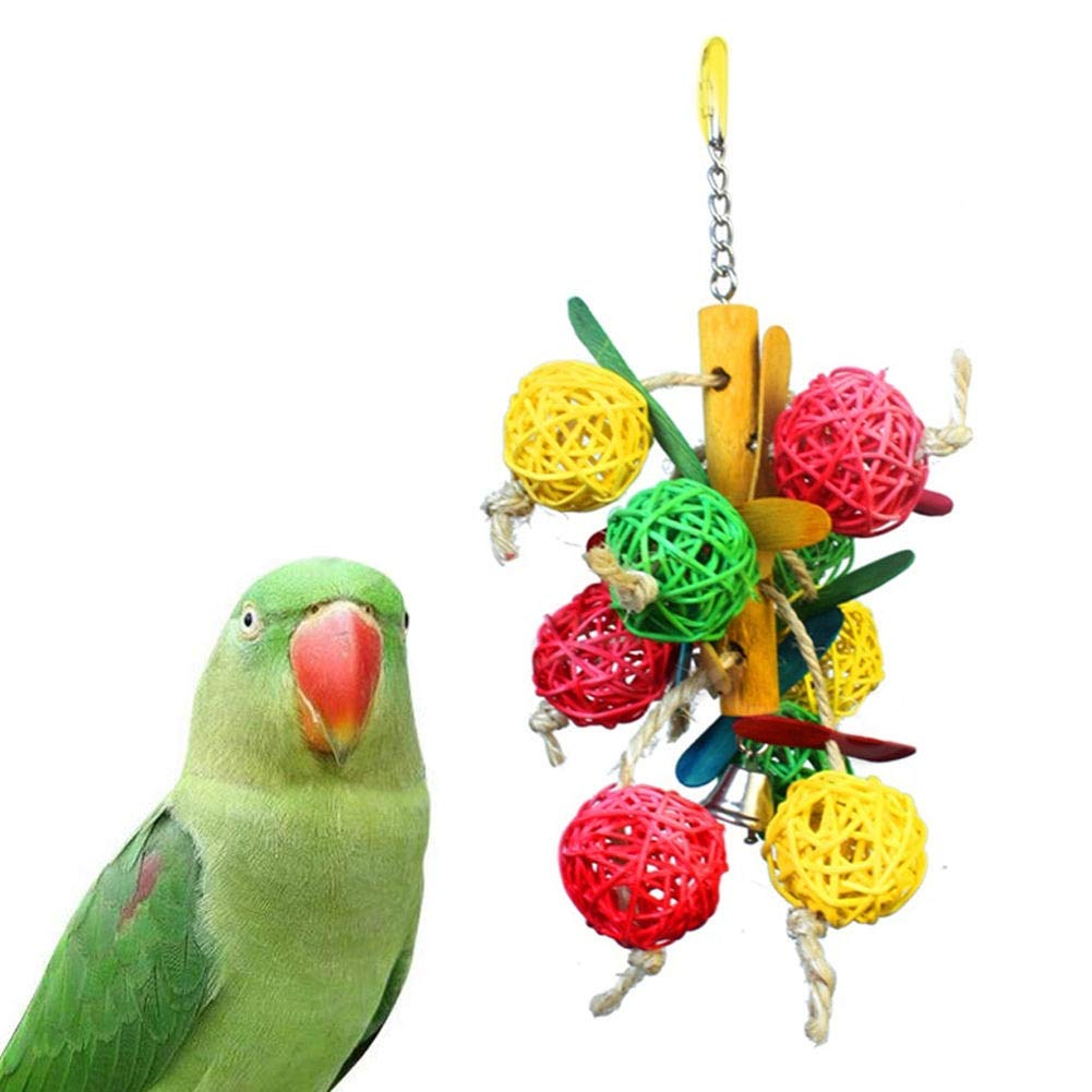 Pet Parrot - Pet Parrot Vine Bite Swing Toy Colorful Bird Bell Ball Parakeet Cockatiel Chew Fun Cage Hollow Climb - Accessories Carrier Sale Toy Smart Book Cockatiel Stand Feeder Food