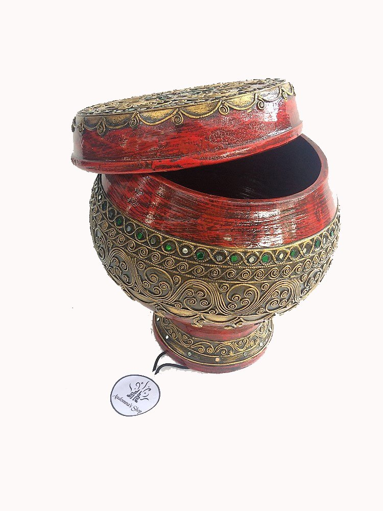 audomna Shop Thai Wooden Sabaタイパターンはベースのサイズ6 x 6 x 3.5 Sabbathサイズ9.5 X 9.5 X 7 B074496VFG